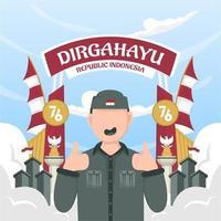 celebração do dia da independência da indonésia em 17 de agosto. vetor