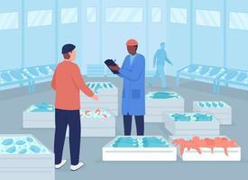 ilustração em vetor atacado mercado de frutos do mar em cores planas