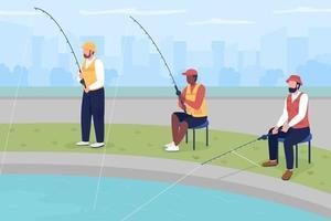 ilustração em vetor cor lisa competição de pesca amador