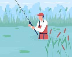 wade fishing ilustração vetorial de cores planas vetor