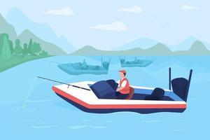 ilustração vetorial de cor lisa torneio de pesca em barcos vetor