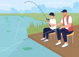 pesca com filho adolescente ilustração vetorial de cor lisa vetor