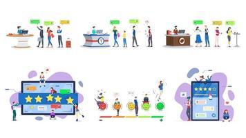 avaliações de clientes conjunto de ilustrações vetoriais planas vetor