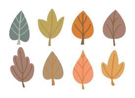 folhas de outono desenhadas à mão conjunto. coleção de vetores de folhagem fofa.