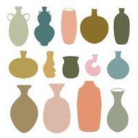 conjunto de formas abstratas de vasos de cerâmica. vários elementos de design de cerâmica vetor