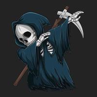 esqueleto do ceifador dançando dabbing, personagem de halloween dabbing vetor