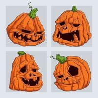 conjunto de abóboras de halloween assustadoras isoladas no fundo branco vetor