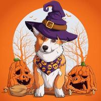 cachorro welsh corgi com disfarce de halloween sentado em uma vassoura de bruxa vetor