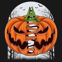 assustadora abóbora de halloween dividida com árvores e morcegos no fundo vetor