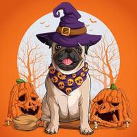 cão pug com disfarce de halloween sentado em uma vassoura de bruxa vetor