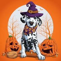 cachorro dálmata com disfarce de halloween sentado em uma vassoura de bruxa vetor