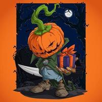 personagem assustador de abóbora de Halloween segurando um presente e escondendo sua faca vetor