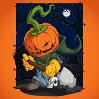 personagem assustador de abóbora de halloween enterrando o crânio humano com sua pá vetor