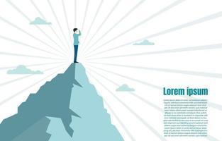 empresário de pé no topo da montanha olhando para o sucesso vetor