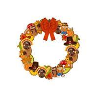 Coroa de ação de graças com biscoitos de gengibre e laço vermelho vetor