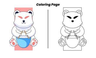 gato fofo brincando com páginas para colorir vetor