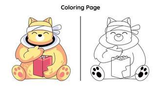 cavaleiro gato fofo com página para colorir vetor