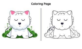 gato fofo com página para colorir vetor