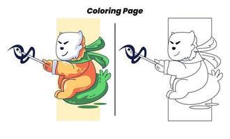 herói macaco com páginas para colorir vetor