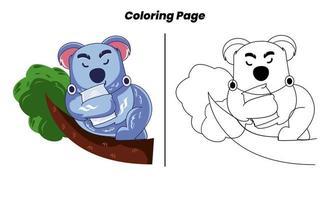 coala dormindo com páginas para colorir vetor