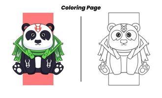 herói panda fofo com páginas para colorir vetor