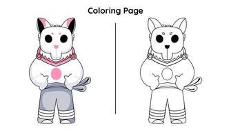 macaco fofo com página para colorir vetor