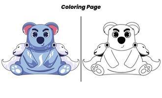 herói coala fofo com páginas para colorir vetor