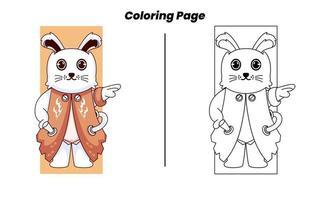 coelho herói com páginas para colorir vetor
