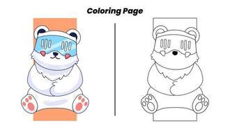 gato fofo com páginas para colorir vetor