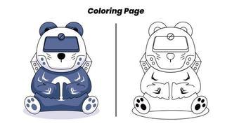 página para colorir de robô panda fofo vetor