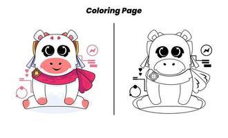 vaca fofa com página para colorir vetor