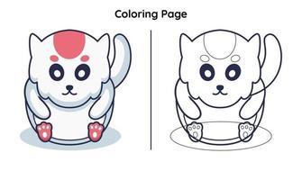 hamster fofo com página para colorir vetor