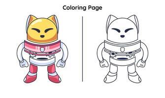 gato robô fofo com página para colorir vetor