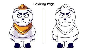 rei gato com páginas para colorir vetor