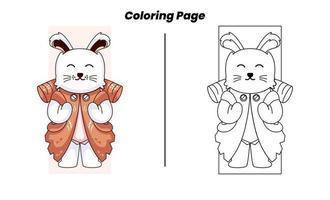 coelho de acampamento com páginas para colorir vetor