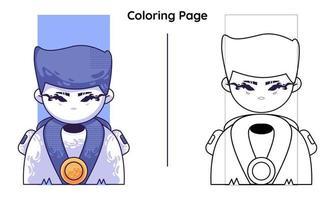 ninja bonito com páginas para colorir. ilustração de desenho vetorial vetor