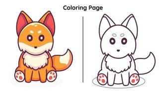 esquilo fofo com página para colorir vetor