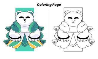 panda fofo com página para colorir vetor