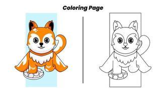 esquilo fofo com páginas para colorir vetor