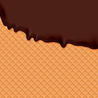 Waffle realista com sorvete de chocolate derretendo, ilustração vetorial