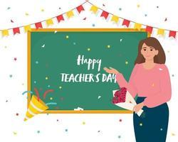 cartão do dia do professor feliz com professora perto do quadro-negro. vetor