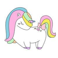 fofo unicórnio branco com corações rosa pônei personagem de desenho animado isolado vetor