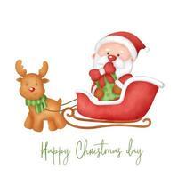 mão desenhada aquarela dia de Natal cartão com cláusula satnta. vetor