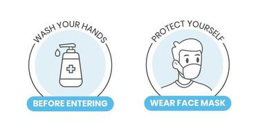 Lave as mãos em vetor de estilo simples com ilustração de garrafa de sabonete