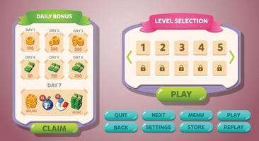 botões pop-up do menu da interface do usuário de jogos casuais vetor