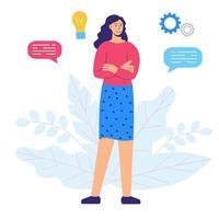 jovem, pensamento criativo, gerando ideias vetor