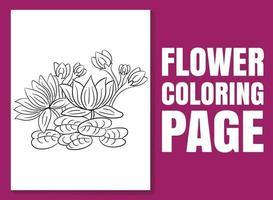 página para colorir de flores. livro de colorir para adultos e crianças vetor
