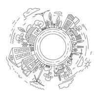 modelo de ilustração vetorial arte de linha de construção de cidade vetor