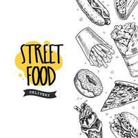 banner retro de comida de rua vetor