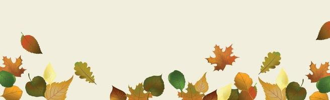 folhas de outono realistas sobre um fundo claro - vetor